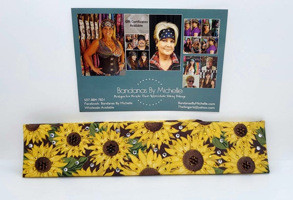 Narrow Sunflower with extra bling -Yellow, Brown, Green and Diamond Clear Swarovski Crystals (Sku3002)