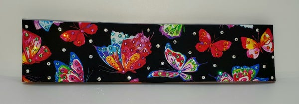 Narrow Butterflies on Black with Multi-Colors of Swarovski Crystals (Sku1823)
