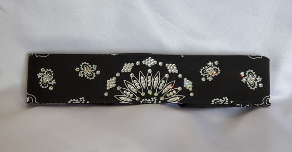 Narrow Black Paisley with Diamond Clear Swarovski Crystals (Sku2074)
