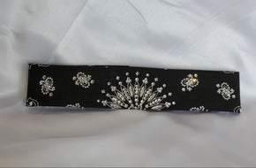 Narrow Black Paisley with Diamond Clear Swarovski Crystals (Sku2070)