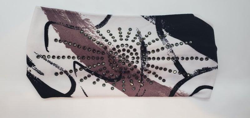 Stretchy Headband Paint Splatter on White with Smoke Crystals (sku5071)