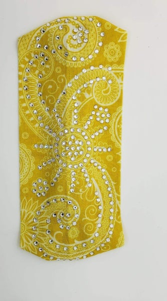 Stretchy Yellow Headband with Clear Crystals (Sku5111)