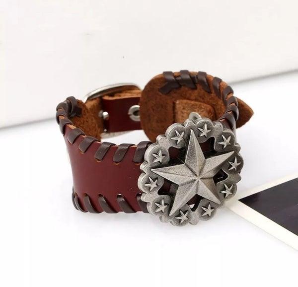 UNISEX Brown Leather Star Concho Adjustable Bracelet (sku8322)