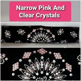 Narrow Black Paisley with Light Pink and Diamond Clear Swarovski Crystals (Sku2085)
