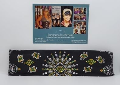 LeeAnnette Black Paisleywith Yellow, Green and Diamond Clear Swarovski Crystals (Sku4460)