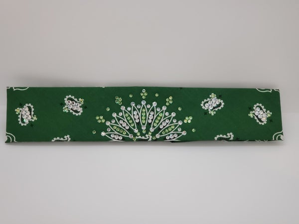 Narrow Dark Green Paisley with Peridot and Diamond Clear Swarovski Crystals (sku2430)