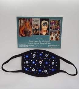 Black Face Masks EXTRA BLING Floral Pattern Blue and Clear *Final Sale* (Sku5908)