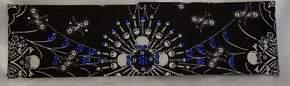 Spider Web Skull Bandana with Blue and Black Swarovski Crystals (Sku1656)