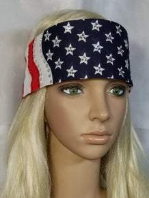 American Flag Bandana with Red and Diamond Clear Swarovski Crystals (Sku1066)