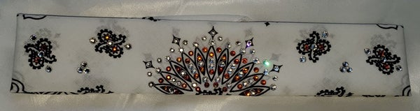 Narrow White Paisley with Orange and Clear Crystals (Sku2032)
