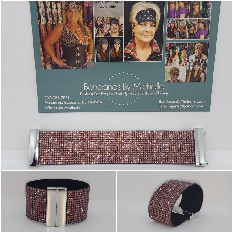 Elegant Leather Austrian Mauve Crystal Wrap Bracelet (Sku8337)