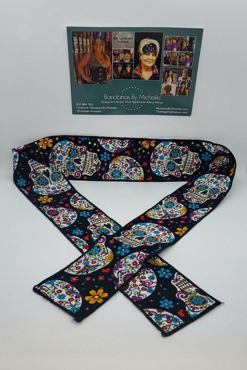 Black Sugar Skull Headband Strip with Multiple Colors of Swarovski Crystals (Sku5555)