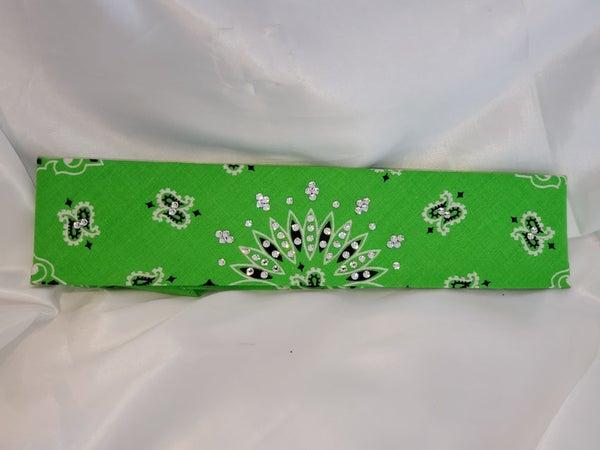 Bargain Bandana Narrow Lime Green with Diamond Clear Crystals (Sku8037)