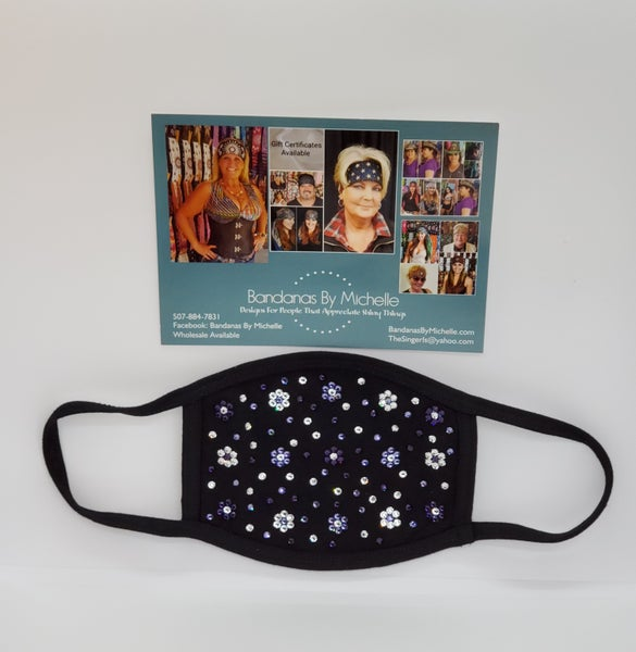 Face Mask with Dark Purple, Light Purple and Diamond Clear Swarovski Crystals.Flowers and extra bling *Final Sale* (Sku5904)