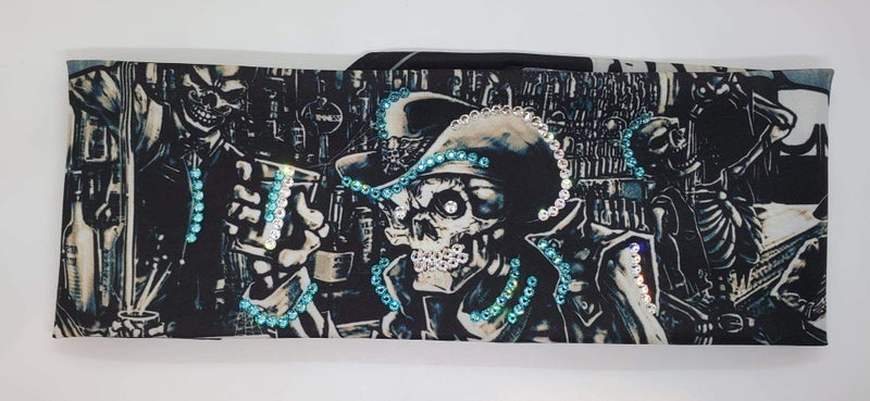 Cowboy Skeleton with Turquoise and Diamond Clear Swarovski Crystals (Sku9304)
