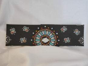 Black Paisley With Turquoise, Fire Opal and Diamond Clear Swarovski Crystals (Sku1947)