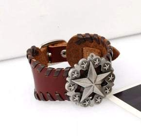UNISEX Brown Leather Star Concho Adjustable Bracelet (sku8322)