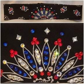 Narrow Black Paisley with Red, Blue and Diamond Clear Swarovski Crystals (Sku2082)