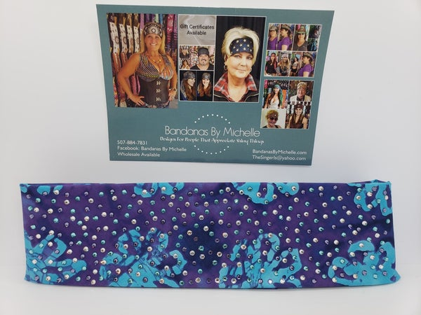 LeeAnnette Purple and Turquoise Batik with Purple, Turquoise and Diamond Clear Swarovski Crsytals (Sku4900)
