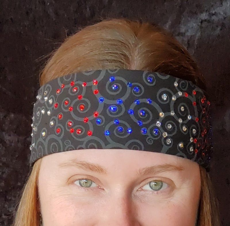Narrow Pinwheels with Red, Blue and Clear Crystals (Sku1761)