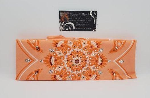 Wide Tangerine Floral Design with Fire Opal and Diamond Clear Austrian Crystals (Sku6011)
