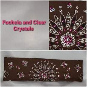 Brown Paisley with Fuchsia and Diamond Clear Swarovski Crystals (Sku2127)