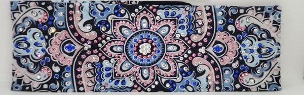 LeeAnnette Blue and Pink Flower Design with Pink, Blue and Clear Crystals (sku4443)