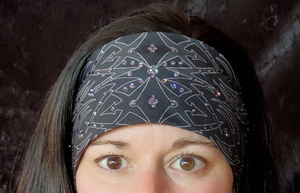 Tribal Bandana with Lavender Crystals (Sku1684)