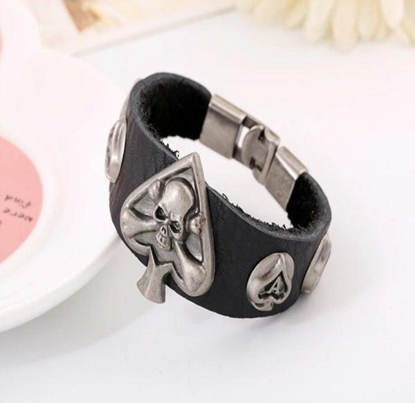 Narrow UNISEX Soft Black Leather Ace Of Spades Skull Bracelet (sku8316)