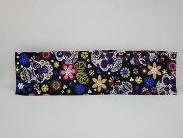 Sugar Skulls and Flowers with Blue and Diamond Clear Swarovski Crystals (Sku9062)