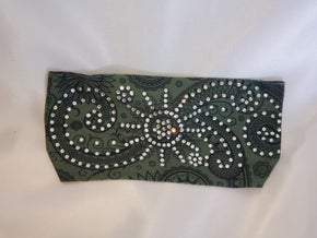 Stretchy Headband Hunter Green Sun Spiral with Diamond Clear Crystals (Sku5079)