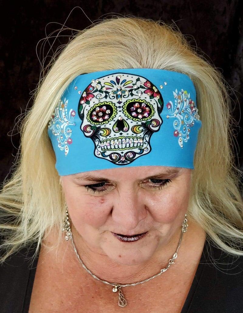 Stretchy Light Blue Sugar Skull Headband with Aurora Borealis Crystals (Sku5051)