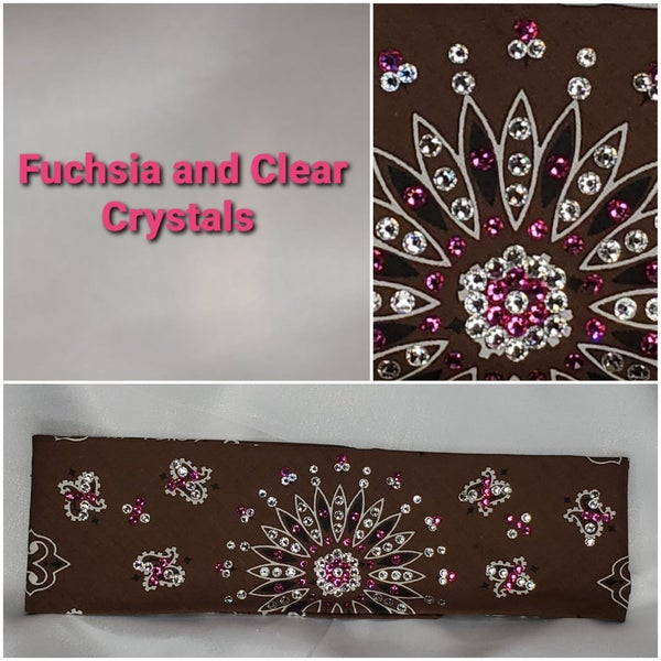 Brown Paisley with Fuchsia and Diamond Clear Swarovski Crystals (Sku2127)