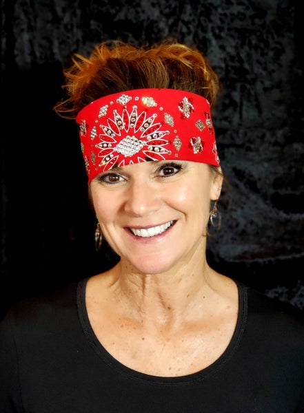 Red LeeAnnette Bandana With Red and Clear Swarovski Crystals (Sku4001)