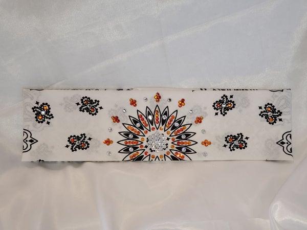 White Paisley with Orange and Diamond Clear Swarovki Crystals (Sku2004)