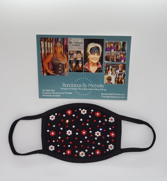 Face Masks EXTRA BLING Floral Pattern Red and Clear Crystals *Final Sale* (Sku5906)