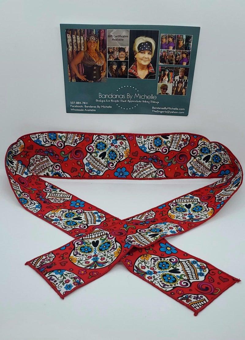 Red Sugar Skull Headband Strip with Multiple Colors of Swarovski Crystals (Sku5556)