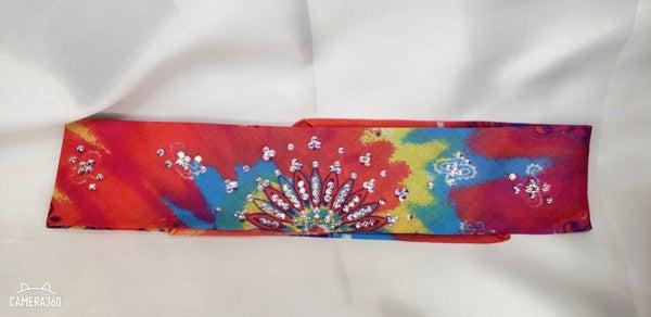 Narrow Tie-dyed Paisley with Aurora Borealis Swarovski Crystals (Sku9952)