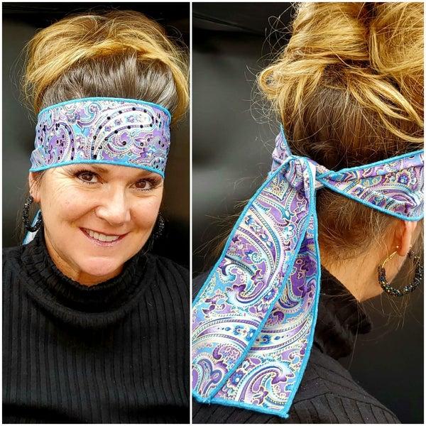 Purple and Gold Paisley Headband Strip with Purple, Turquoise and Diamond Clear Swarovski Crystals (Sku5520)