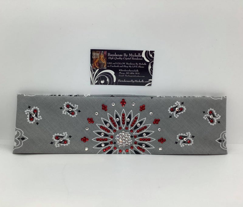 Silver Paisley with Red and Diamond Clear Swarovski Crystals (Sku2501)