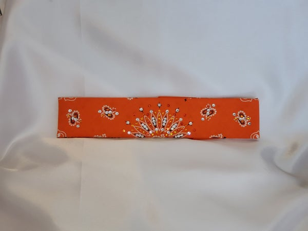 Narrow Orange Paisley With Fire Opal and Diamond Clear Swarovski Crystals (sku2190)