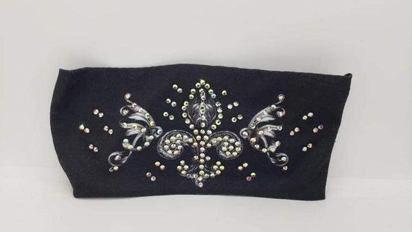 Stretchy Headband Fleur-De-Lis with Aurora Borealis Crystals (Sku5126)