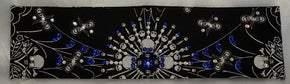 Spider Web Skull Bandana with Blue and Diamond Clear Swarovski Crystals (Sku1650)