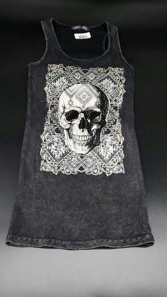 Skull Head Tank Embellished with Rhinestones