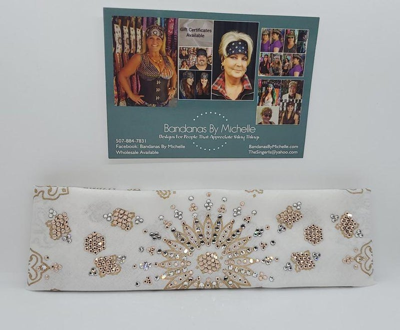 LeeAnnette Gold Paisley on White with Rose Gold and Diamond Clear Crystals (Sku4355)