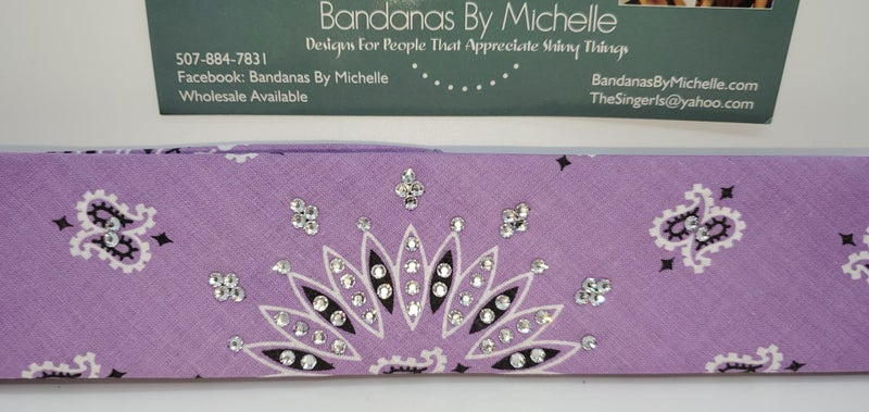 Narrow Bargain Lavender with Diamond Clear Crystals (Sku8052)
