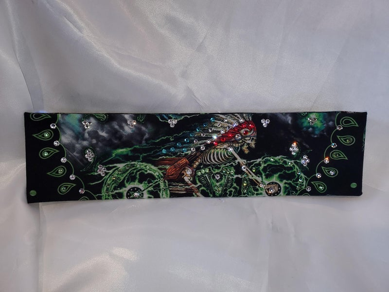 Narrow Indian Skeleton on Motorcycle with Clear Swarovski Crystals (Sku1044)