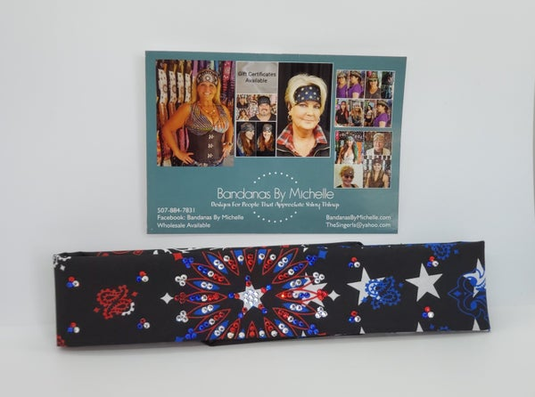 Narrow Black Stars and Stripes and Bandana with Red Clear and Blue Swarovski crystals (Sku2441)
