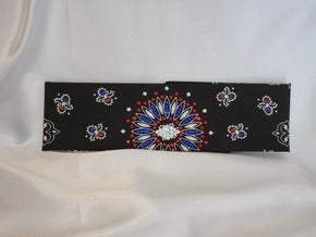 Black Paisley With Red, Blue and Diamond Clear Swarovski Crystals (Sku1946)