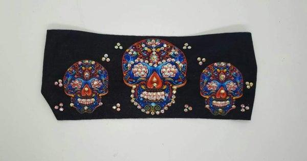 Stretchy Headband Sugar Skulls with Aurora Borealis Crystals (Sku5124)